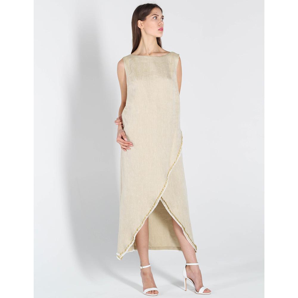 Льняное платье Vigio бежевого цвета без рукава