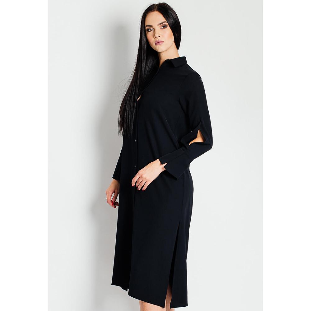 Черное платье Sandro Ferrone с разрезами