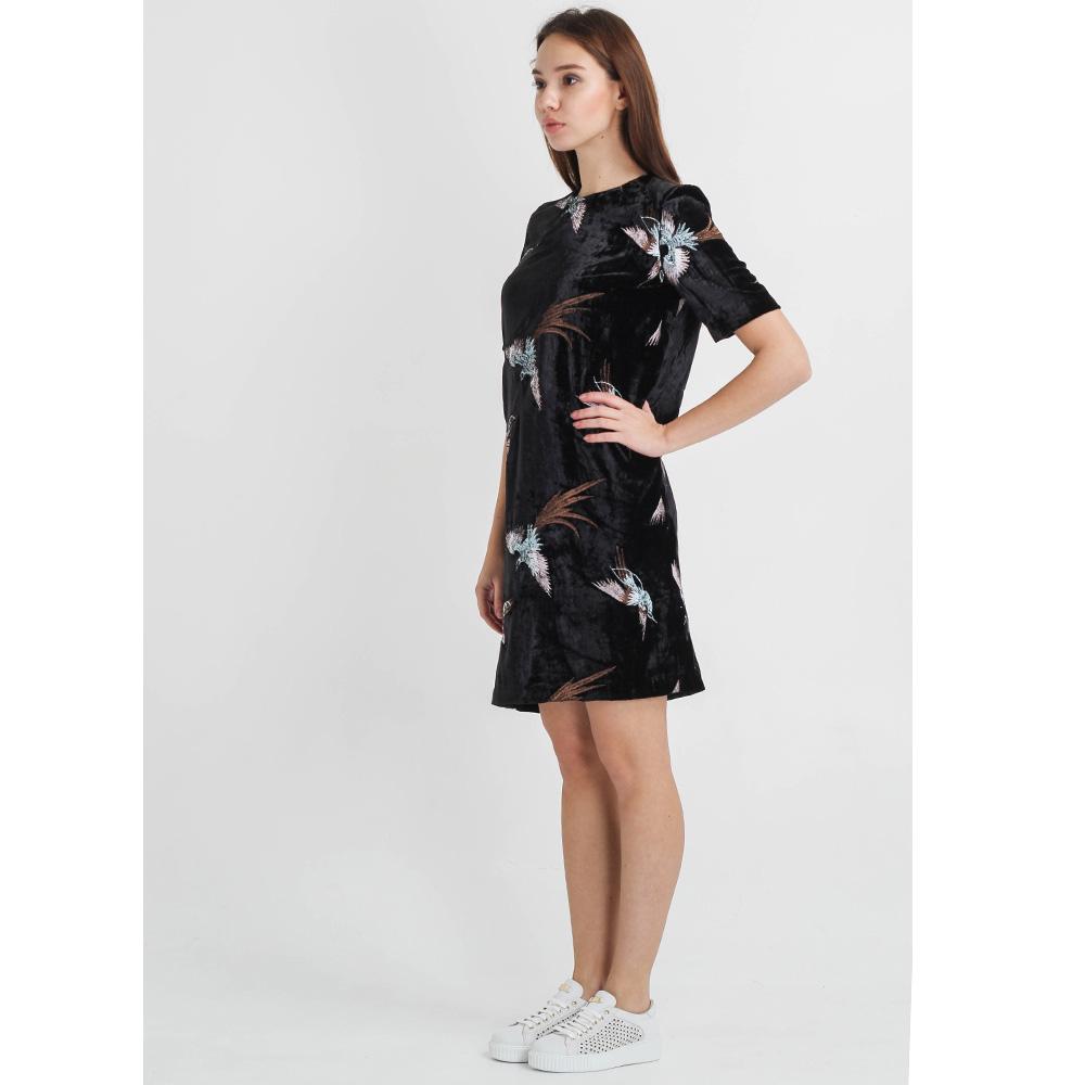 Бархатное платье Sandro Ferrone прямого кроя с вышивкой
