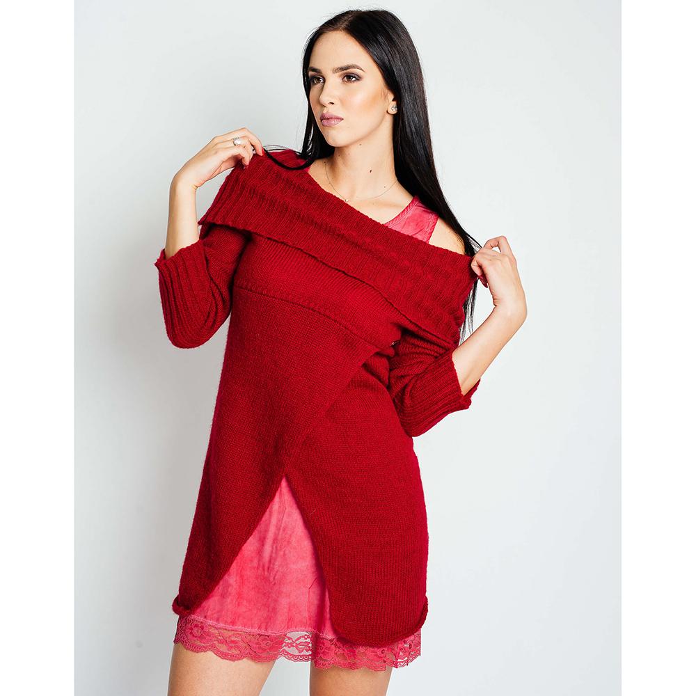 Вязаное платье с комбинацией Sonia Fortuna красного цвета