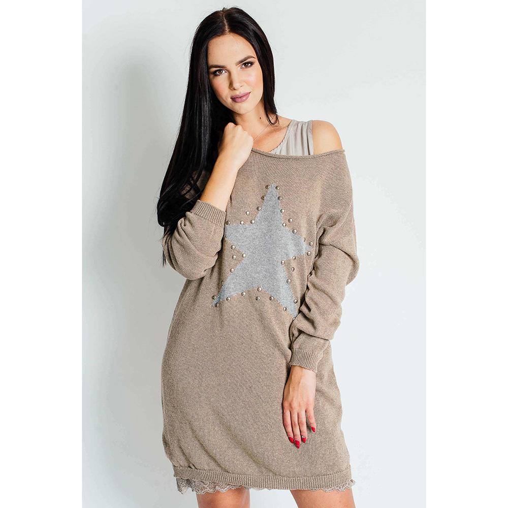 Трикотажное платье с комбинацией Sonia Fortuna бежевого цвета