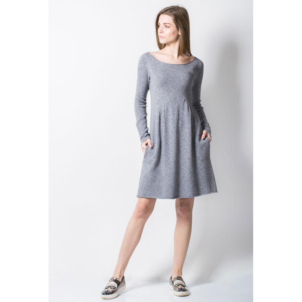 Короткое платье Tensione in серое с карманами