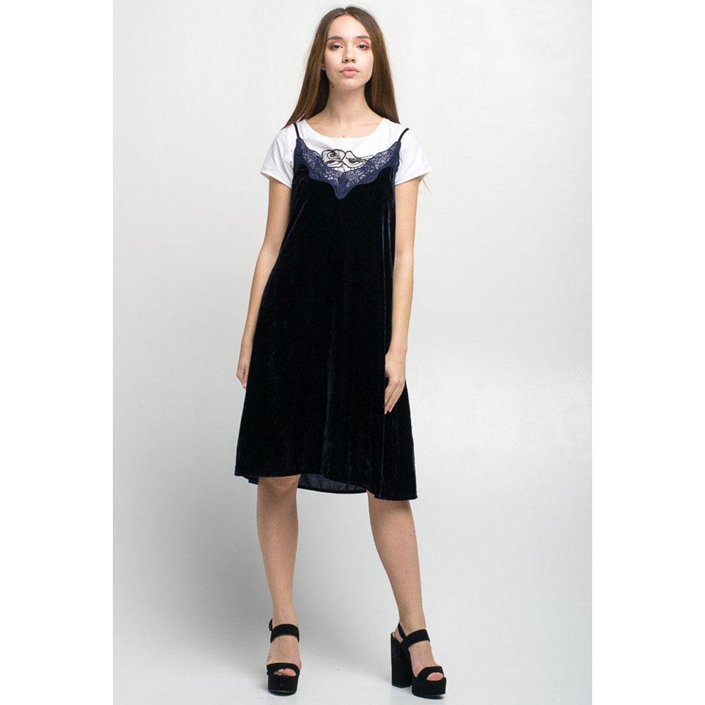 Бархатное платье на бретелях Tensione in темно-синего цвета с кружевом