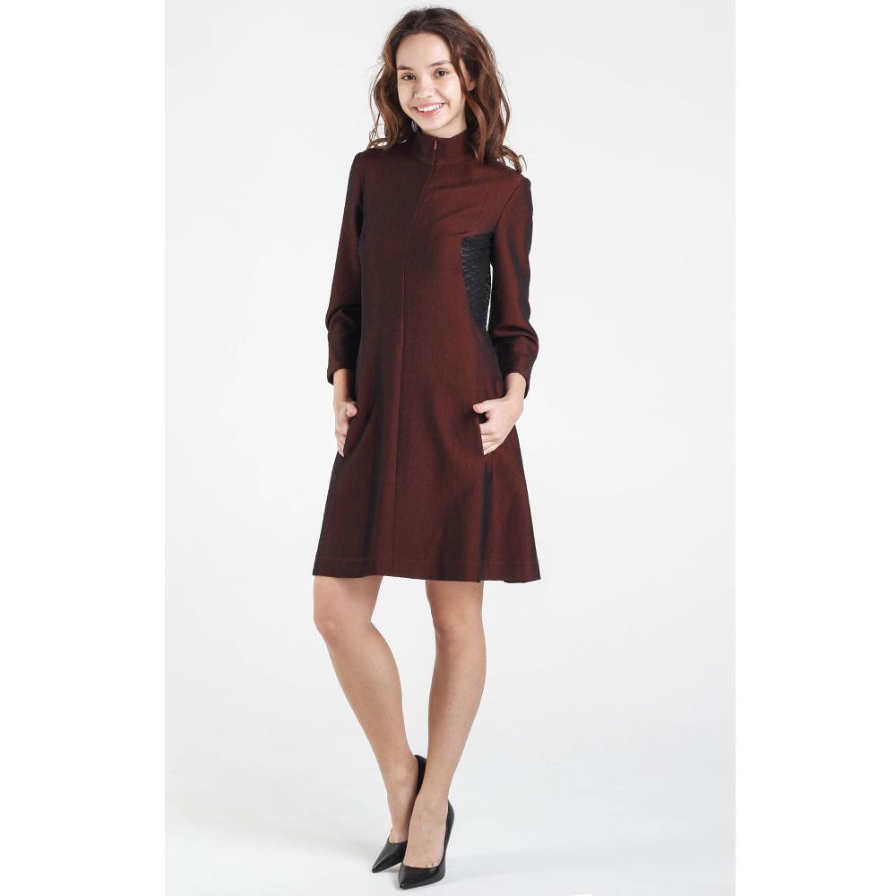 Бордовое платье Shako с длинным рукавом на молнии