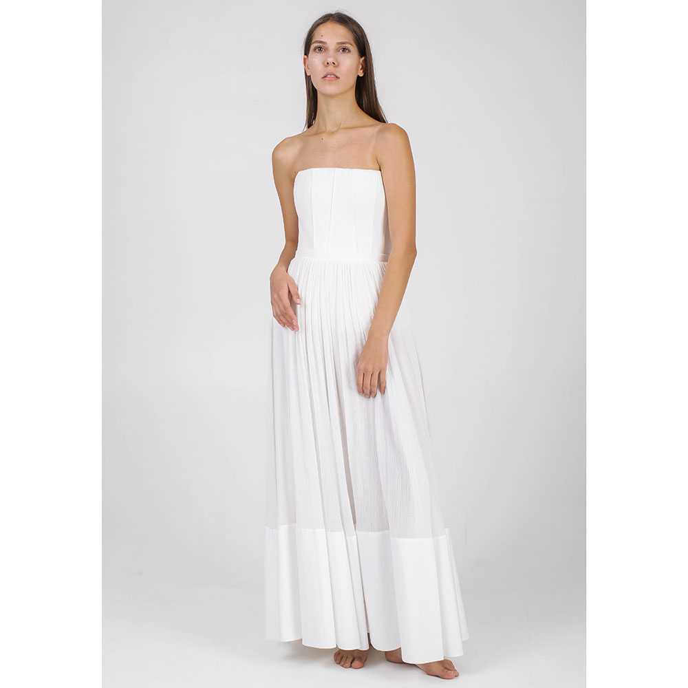 Платье с открытыми плечами Givenchy белого цвета с юбкой клеш