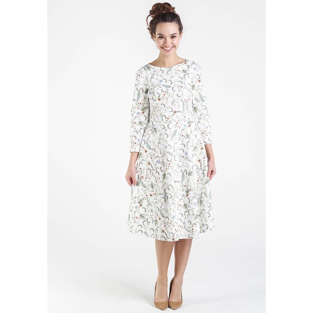 Трикотажное белое платье Shako с цветочным принтом