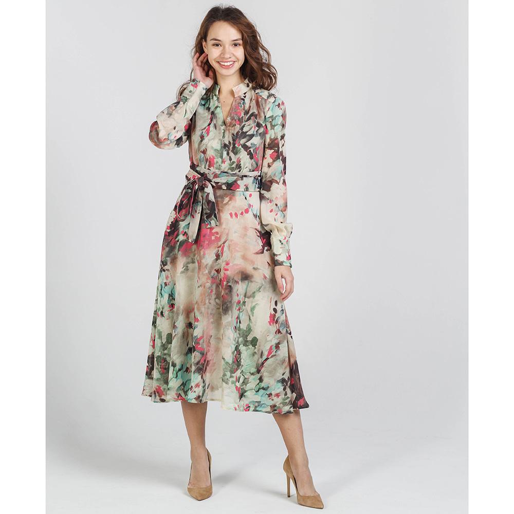 Платье-миди Shako бежевого цвета с длинным рукавом