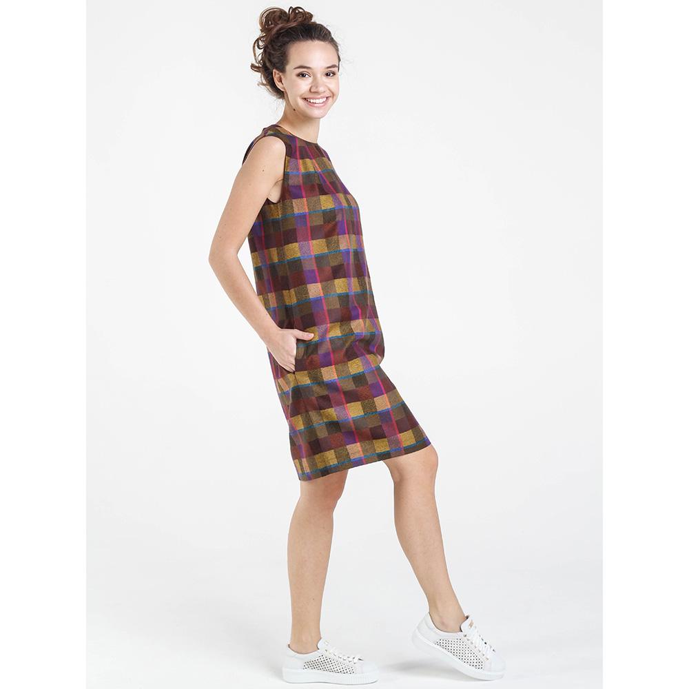 Коричневое платье Shako в клетку с молнией на спине