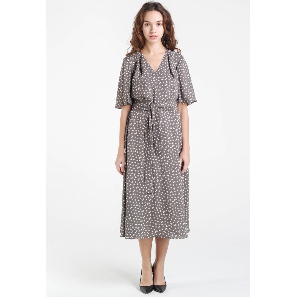 Бежевое платье-миди Shako с широким рукавом