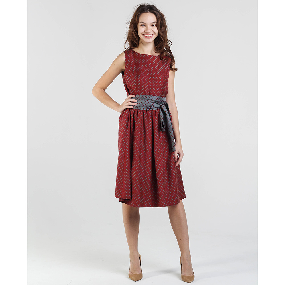 Бордовое платье Shako до колен под пояс