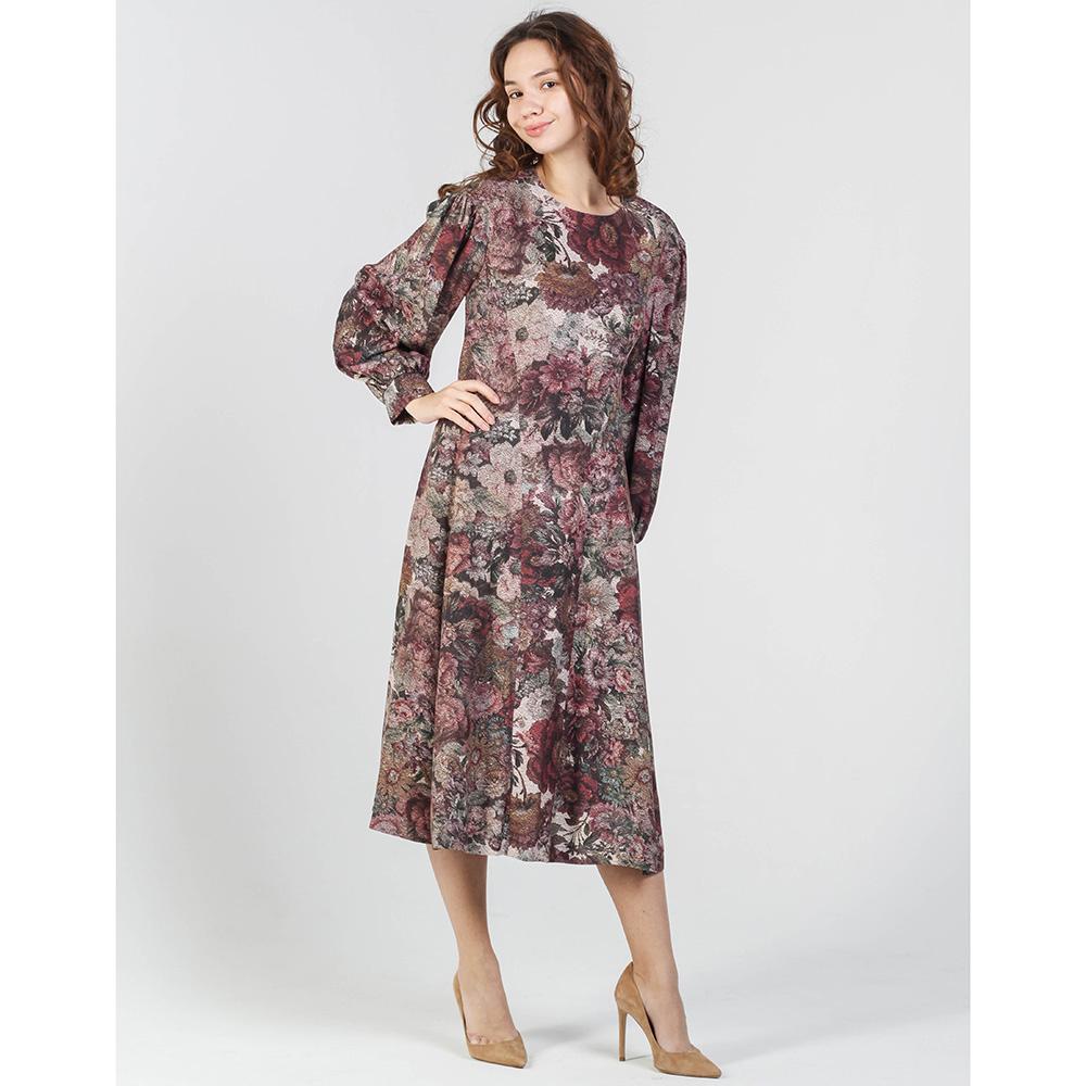 Платье Shako бордового цвета с цветочным принтом