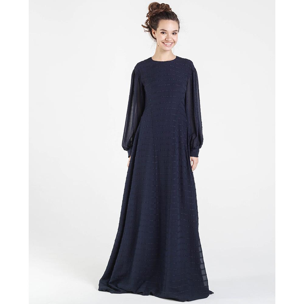 Вечернее платье в пол Shako из шелка синего цвета