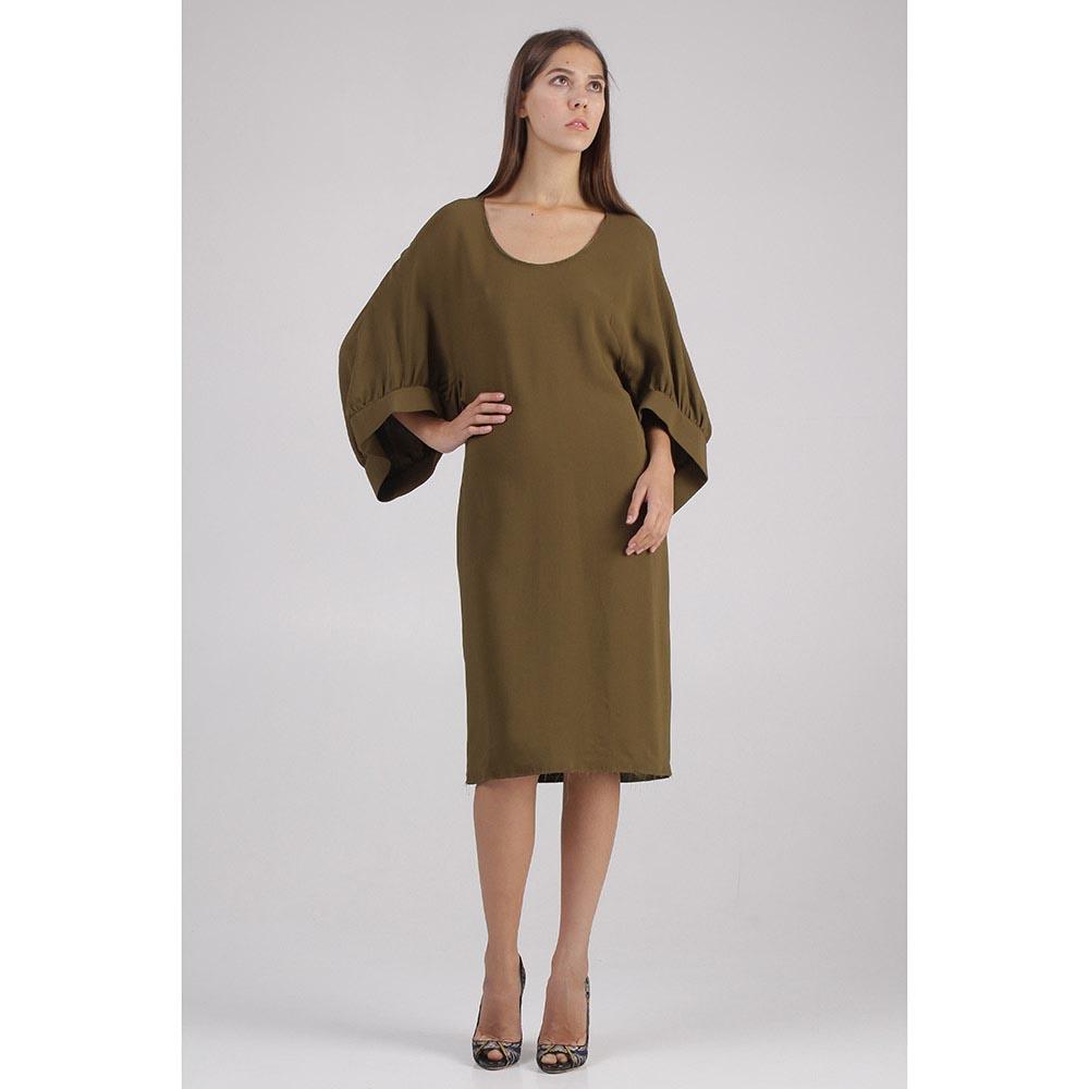 Платье Givenchy цвета хаки с пышными рукавами
