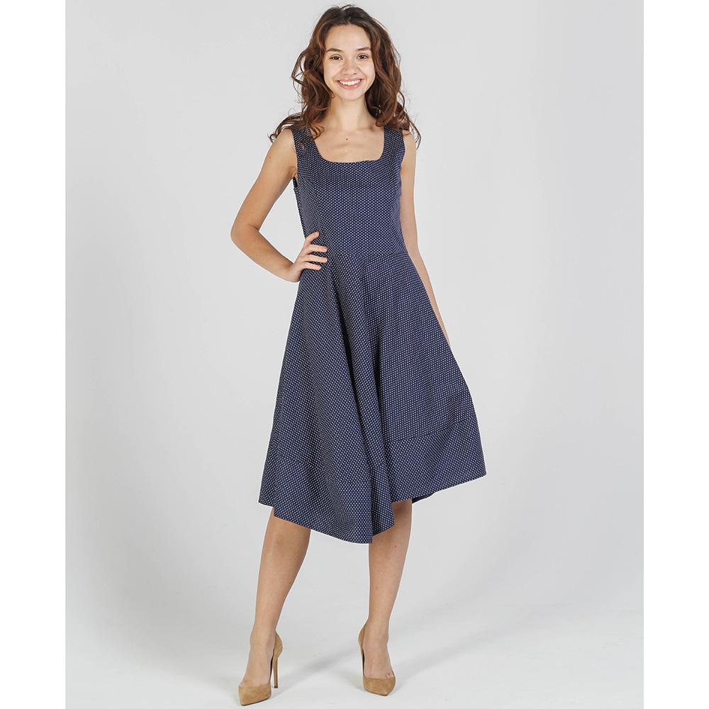 Синее платье в горох Shako с пышной юбкой
