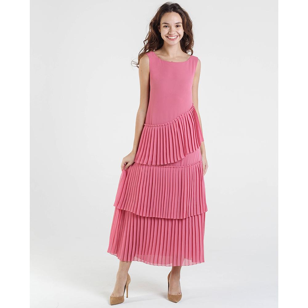 Длинное розовое платье Shako с плиссированными вставками