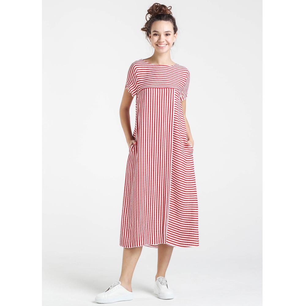 Трикотажное платье Shako в красно-белую полоску