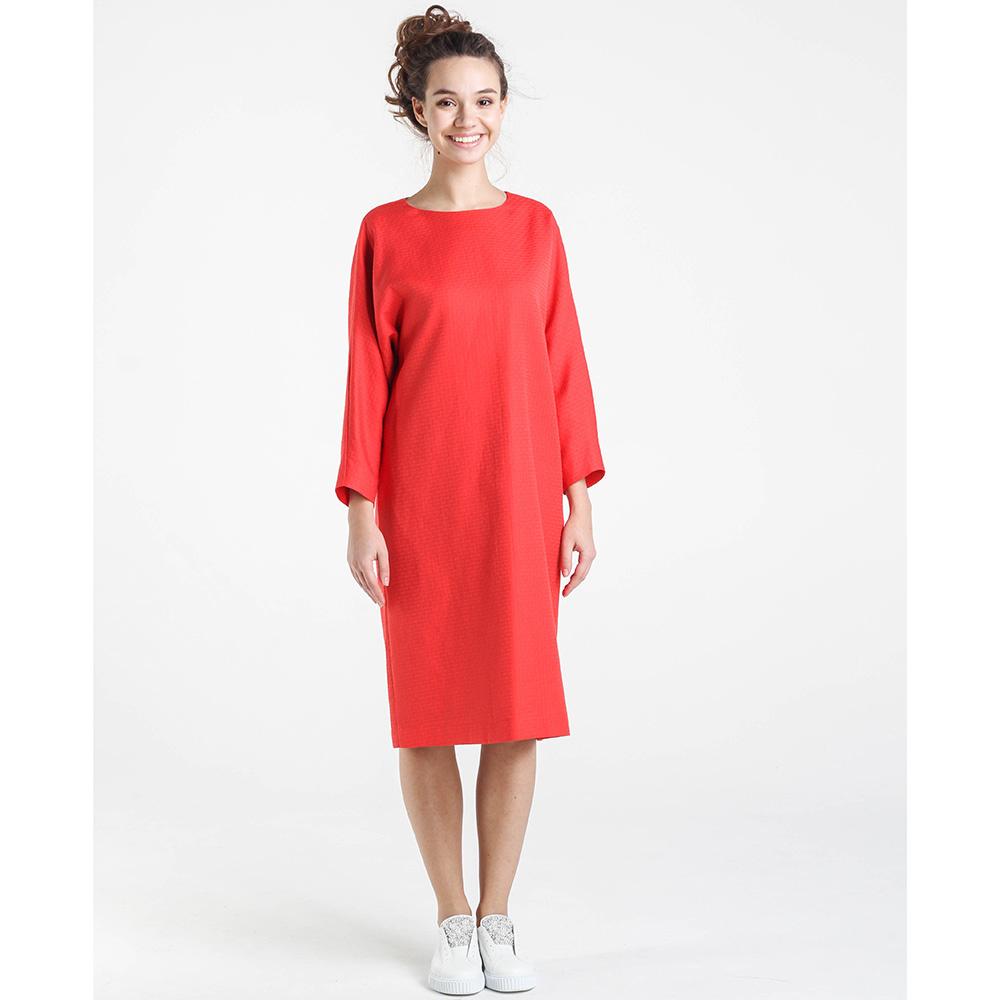 Красное платье Shako свободного кроя с длинным рукавом