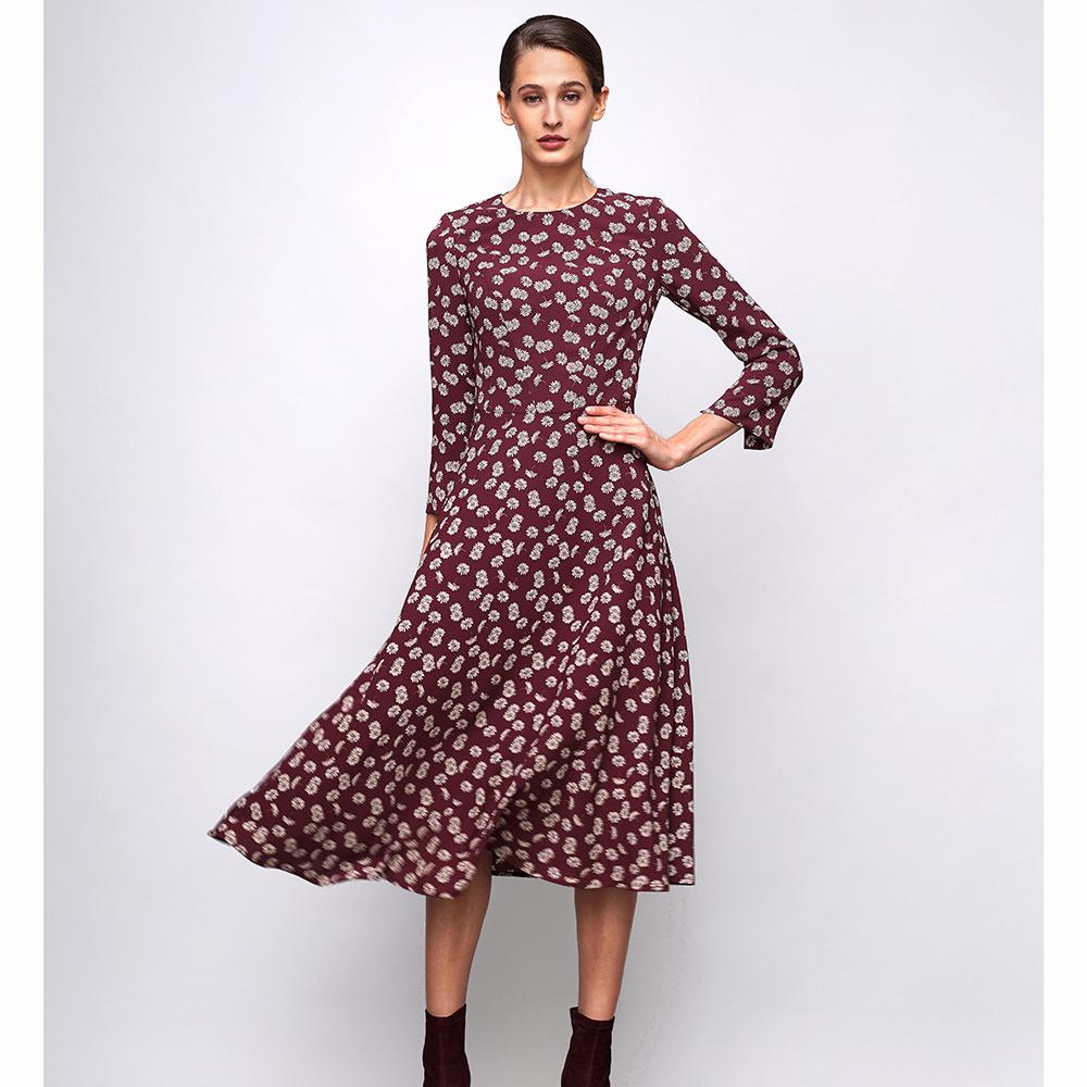 Бордовое платье Shako миди с цветочным принтом