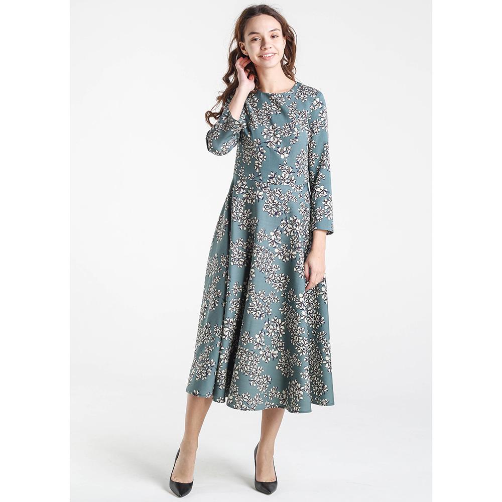 Платье-миди Shako бирюзового цвета с цветочным принтом