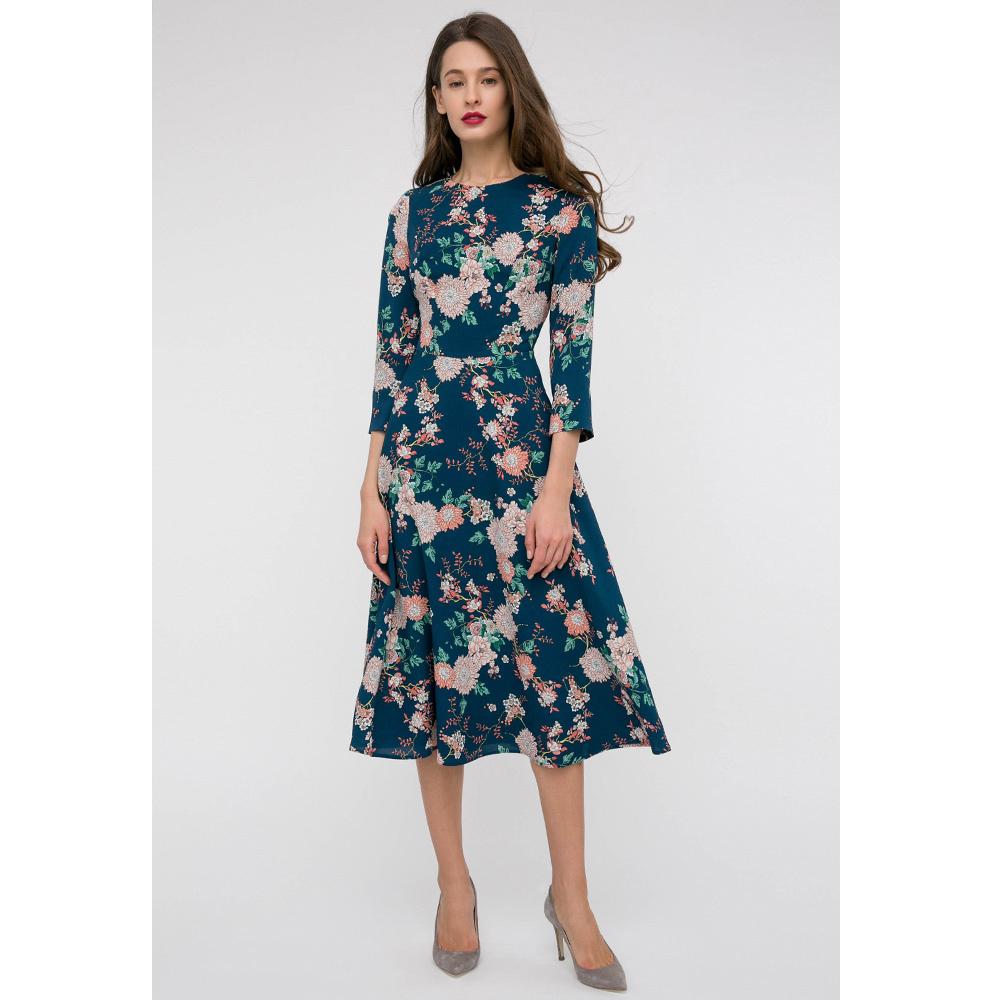 Платье-миди Shako синего цвета с укороченым рукавом