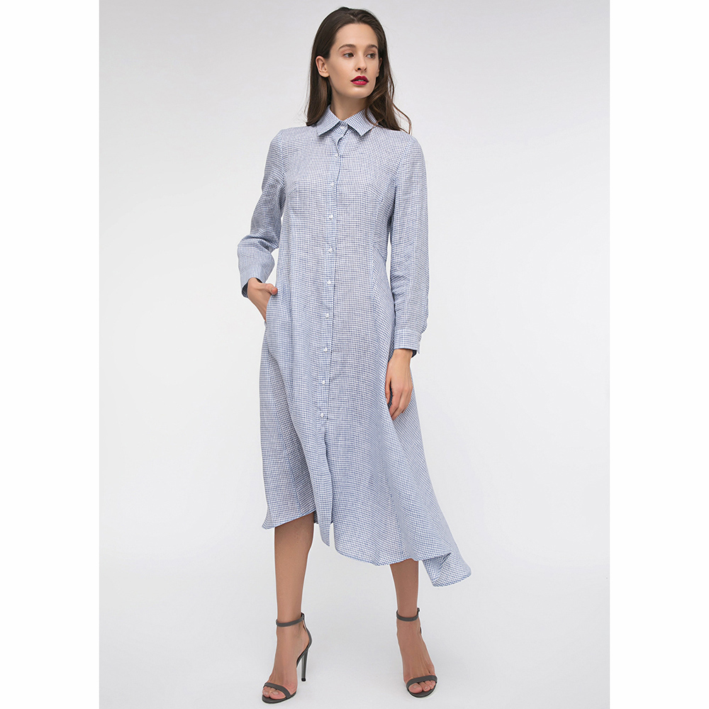 Платье-рубашка Shako голубого цвета с ассиметричной юбкой