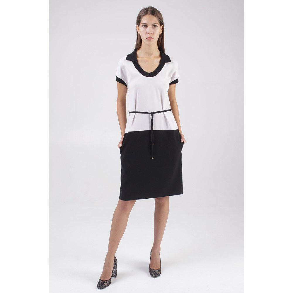 Черно-белое платье с тонким поясом Paule Ka