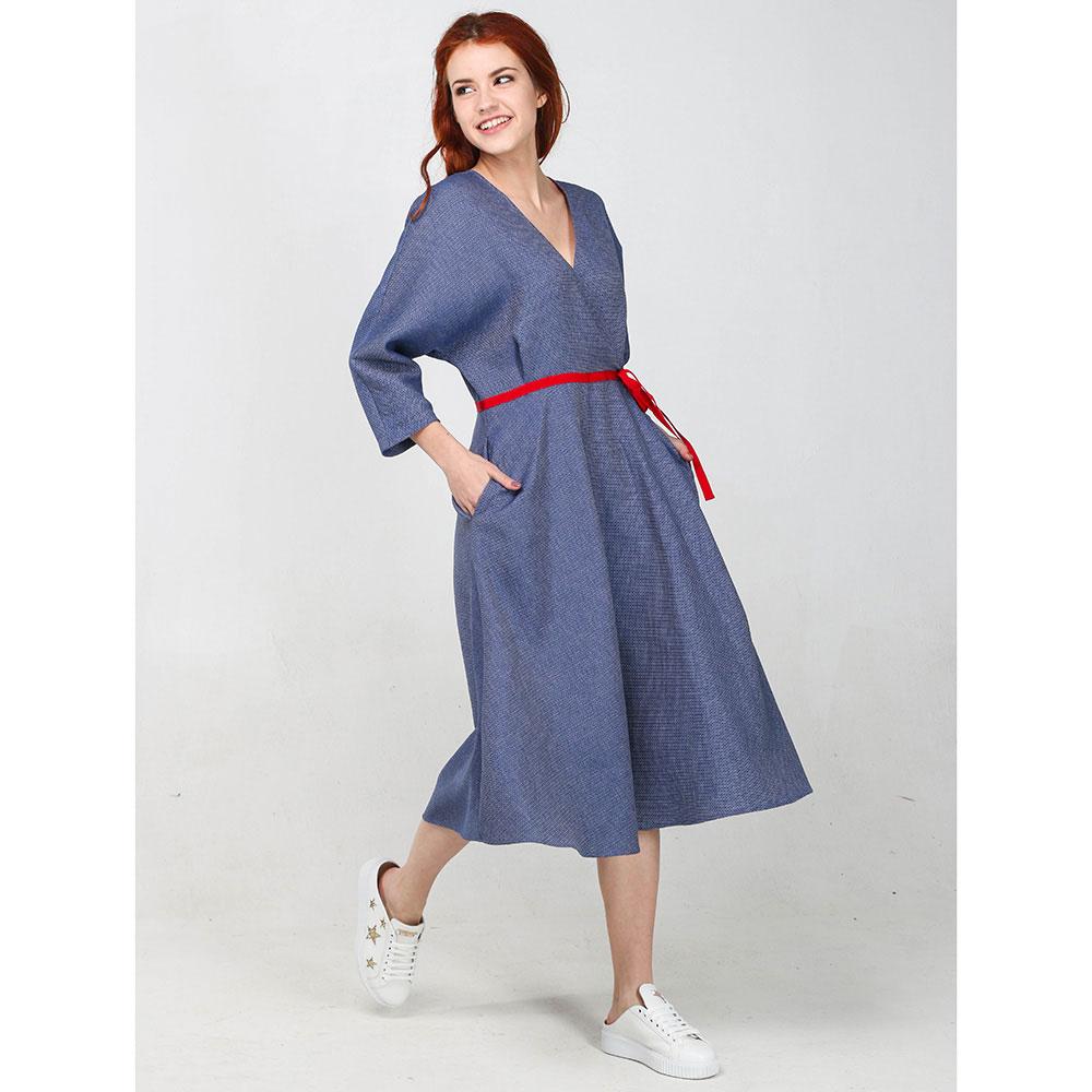 Синее платье-миди ViGiO с красным поясом
