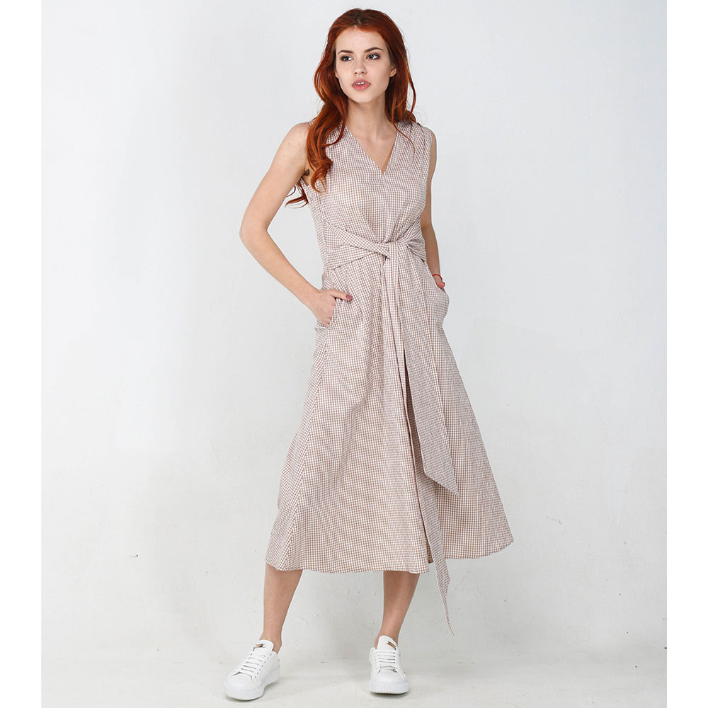 Платье-миди ViGiO бежевого цвета в клетку