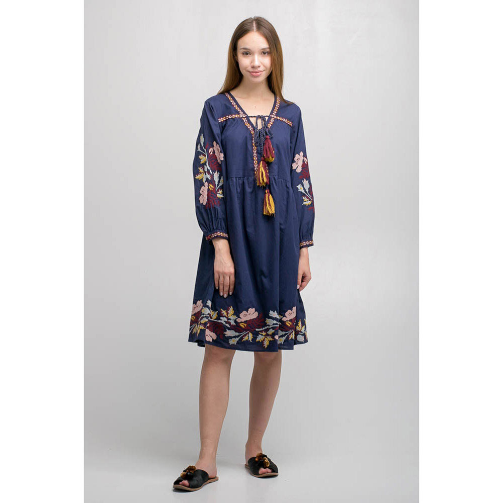 Синее платье Emma&Gaia с вышивкой