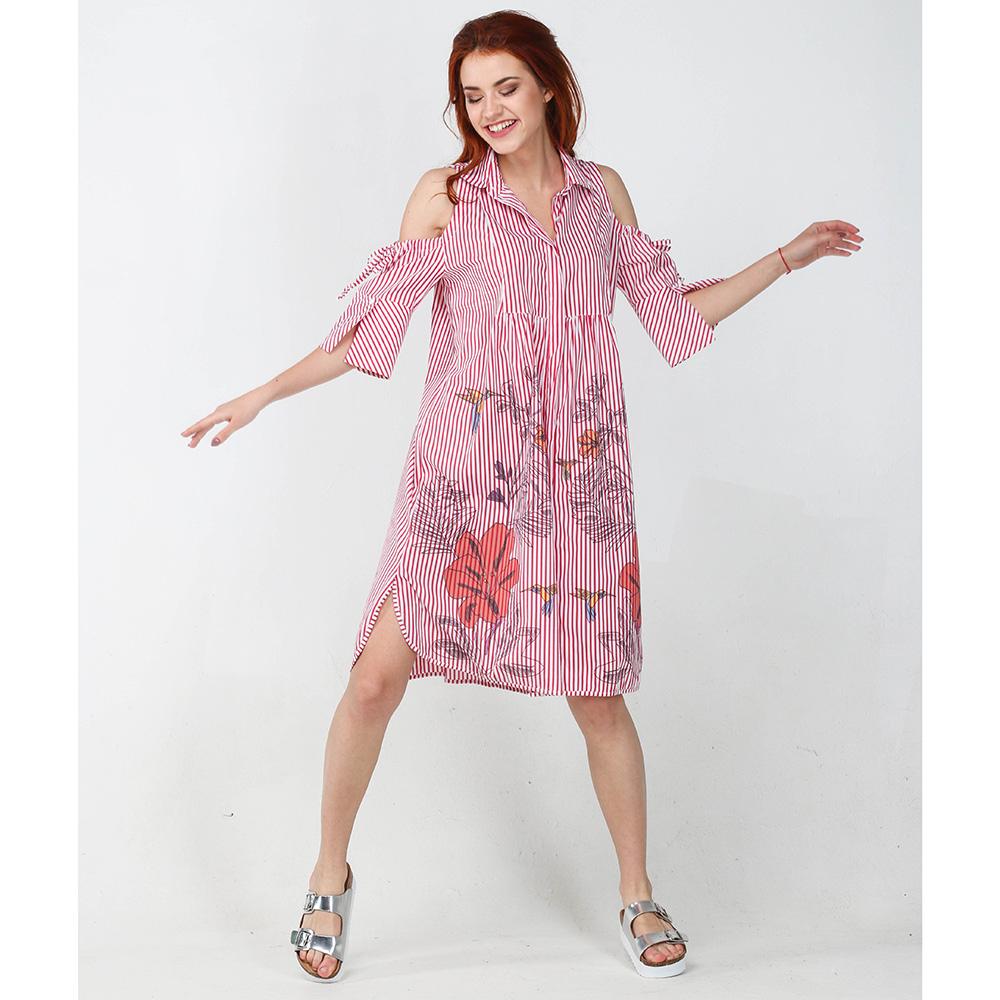 Платье-рубашка Emma&Gaia красного цвета в полоску