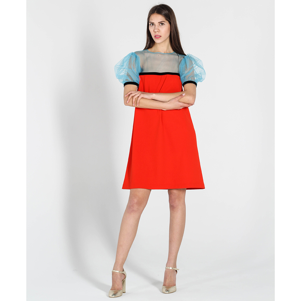 Красное платье-трапеция Kristina Mamedova с рукавами-фонариками