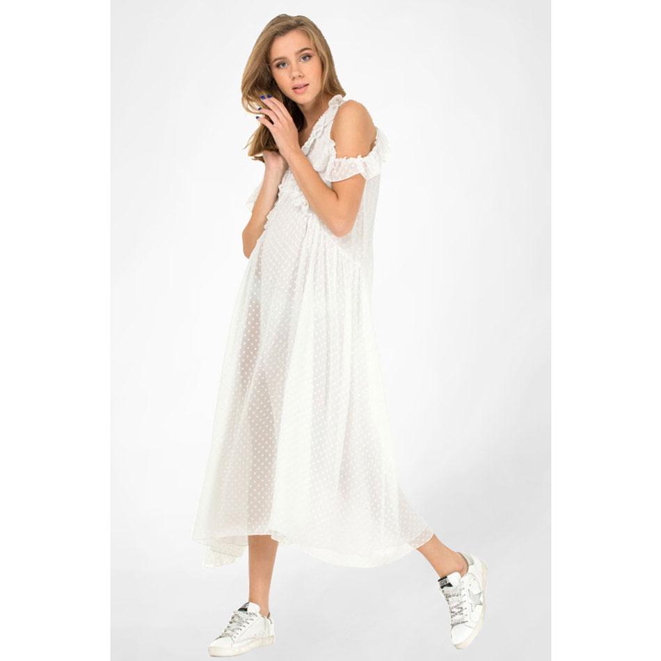 Белое шифоновое платье WeAnnaBe с открытыми плечами