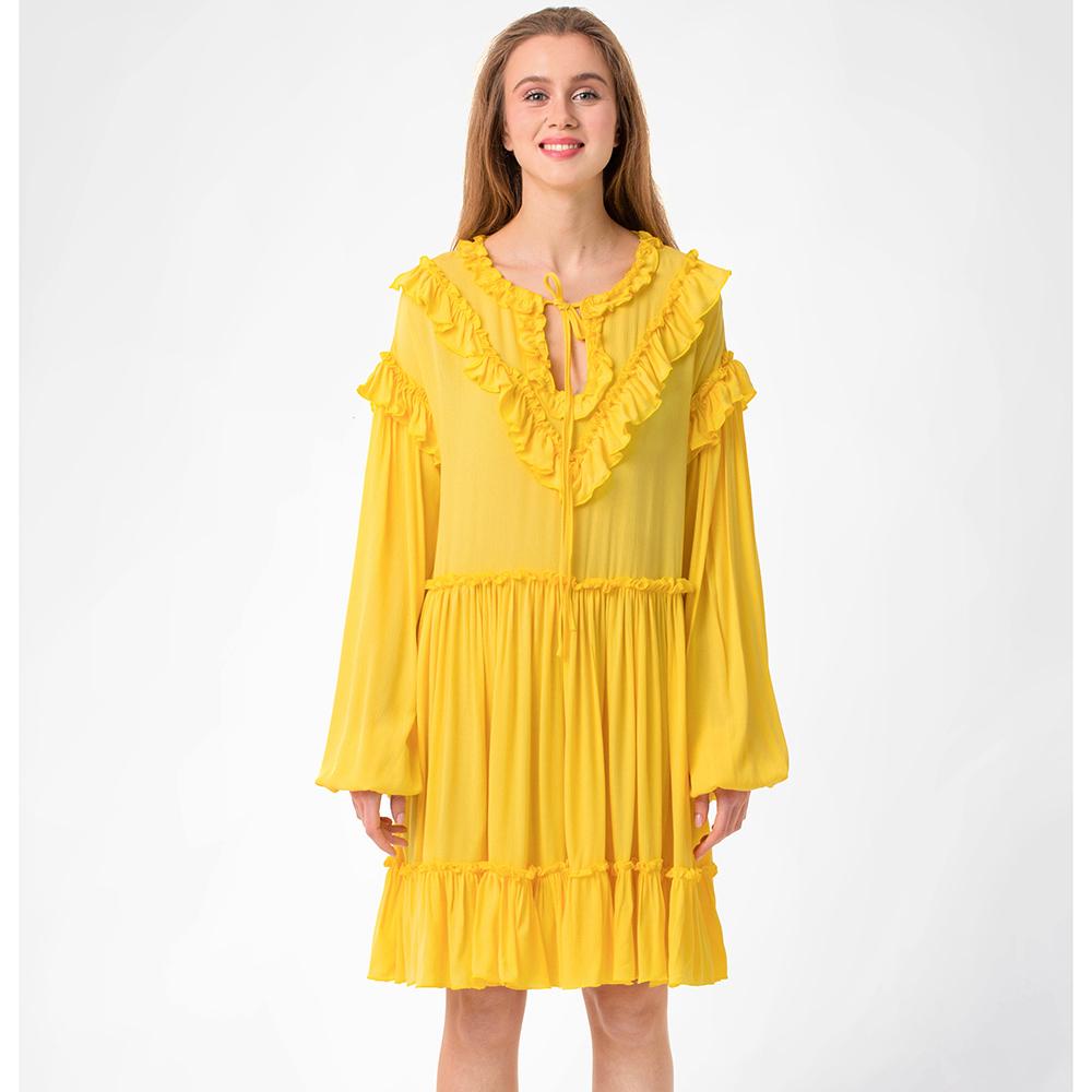 Желтое платье WeAnnaBe до колен с оборками