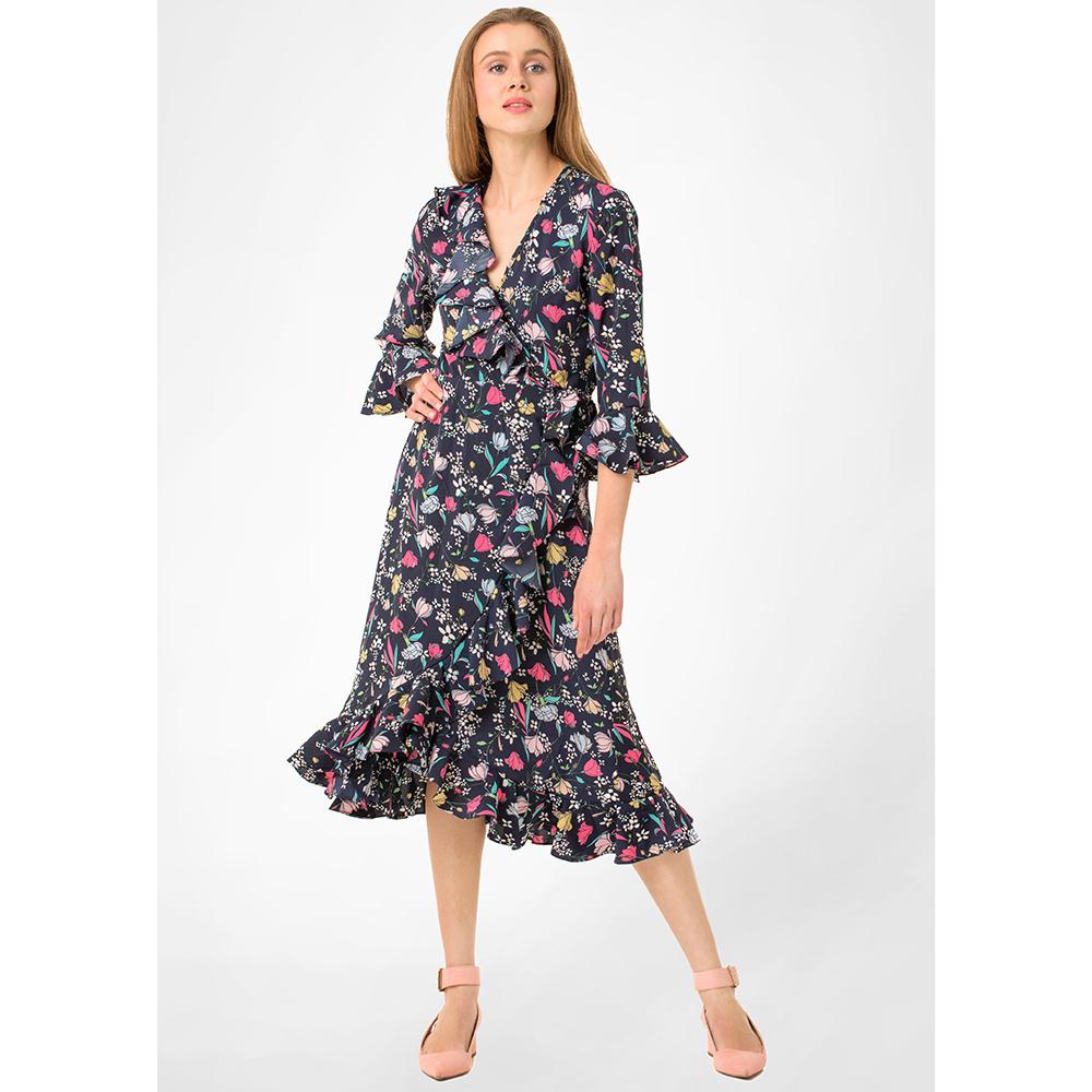 Платье-миди WeAnnaBe темно-синего цвета с пышной юбкой на запах