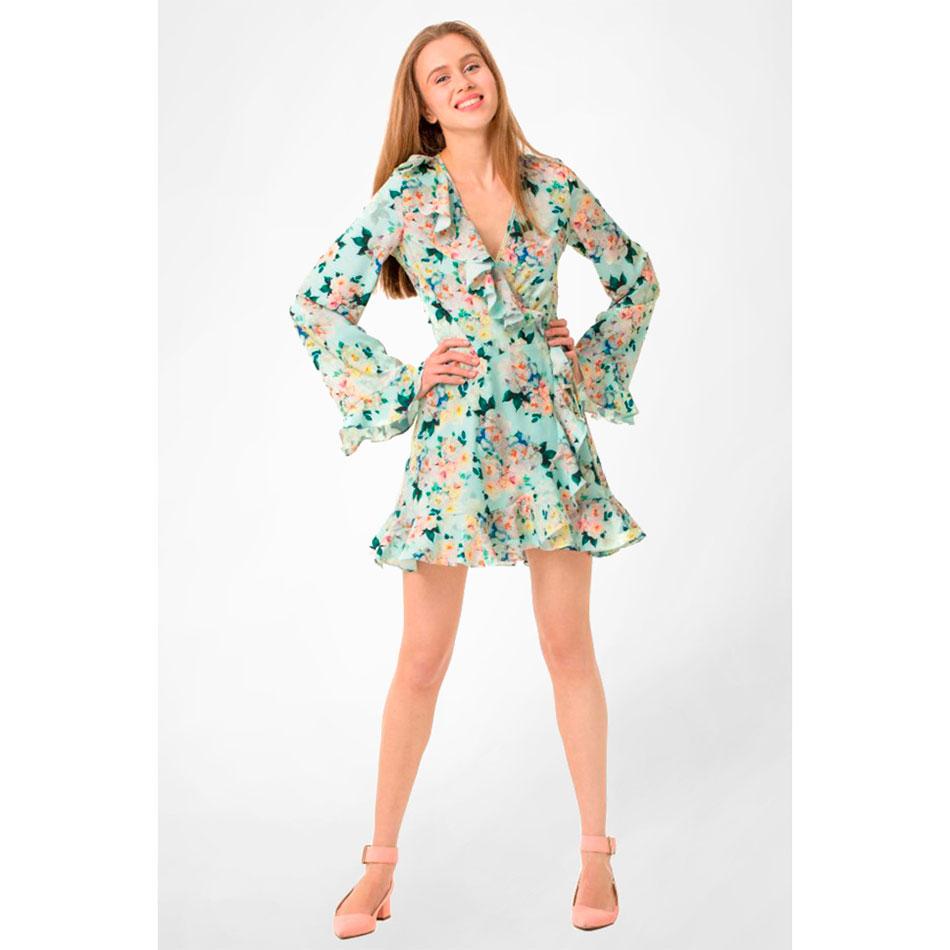 Платье на запах WeAnnaBe мятного цвета с цветочным принтом