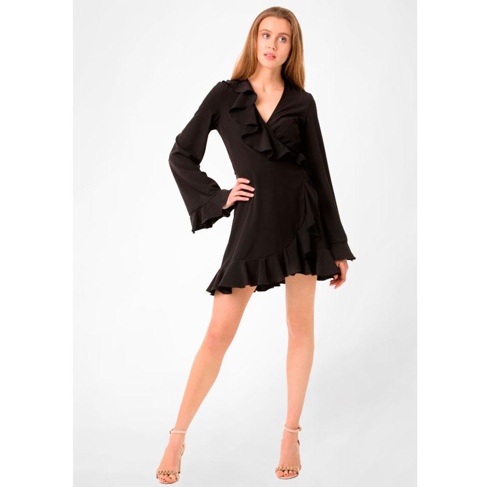 Черное платье WeAnnaBe на запах с рюшами