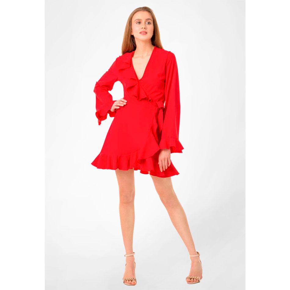 Красное платье WeAnnaBe на запах с рюшами