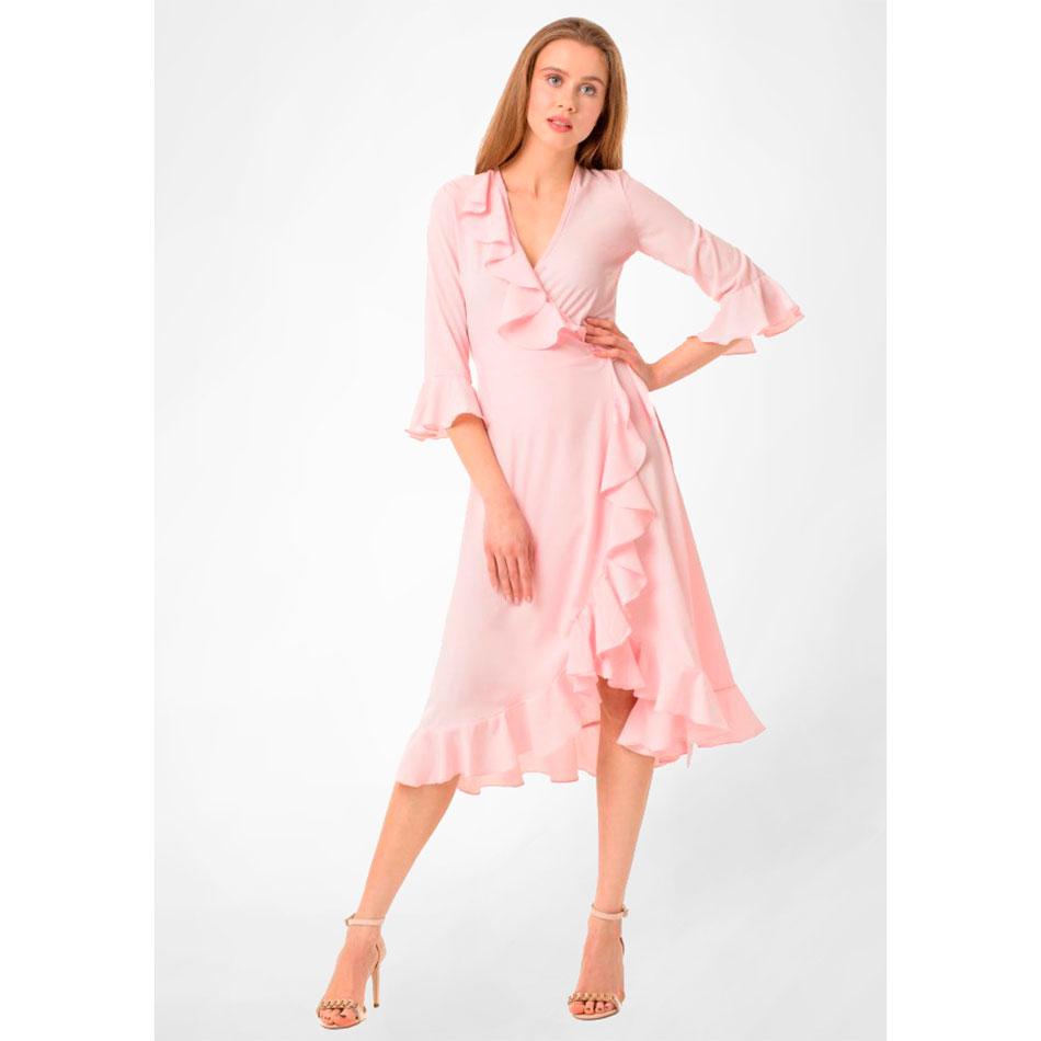 Платье-миди WeAnnaBe розового цвета с воланами