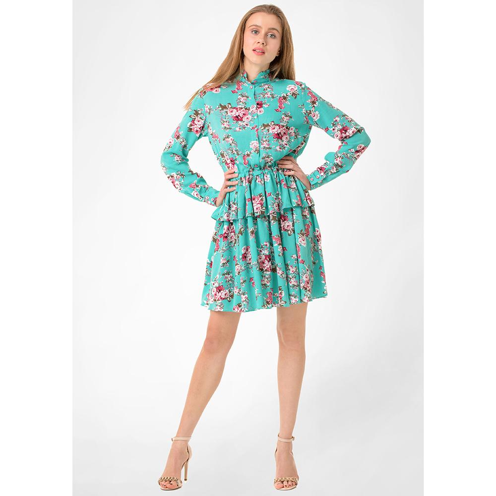 Платье-рубашка WeAnnaBe бирюзового цвета с длинным рукавом