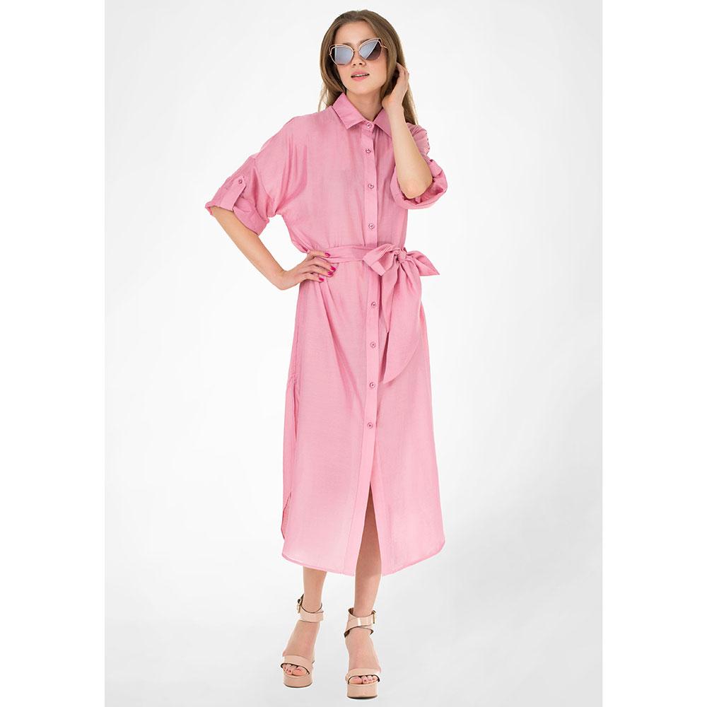 Платье-рубашка WeAnnaBe под пояс светло-розового цвета