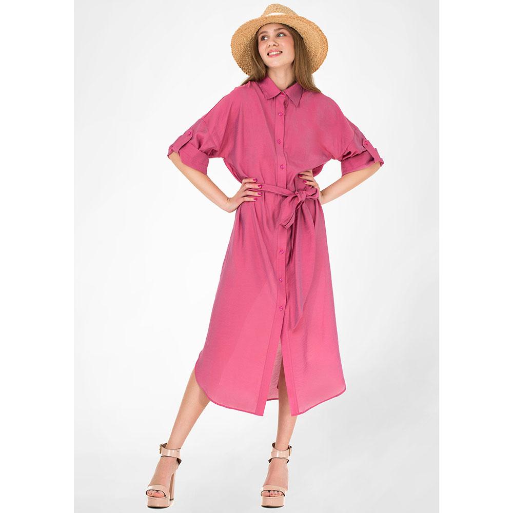 Платье-рубашка WeAnnaBe под пояс розового цвета