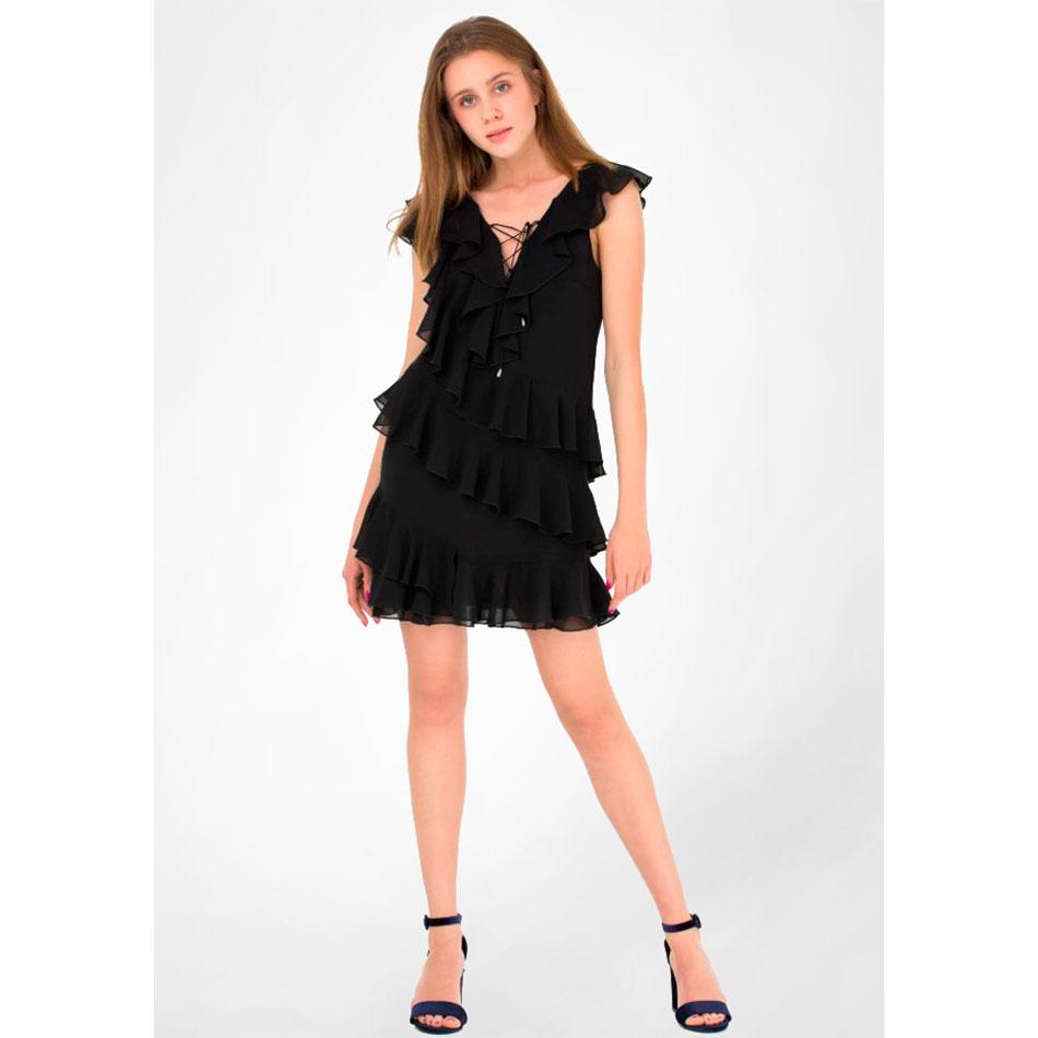 Черное платье WeAnnaBe со шнуровкой и воланами