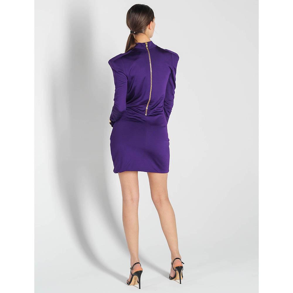 Платье Balmain фиолетового цвета  с жабо