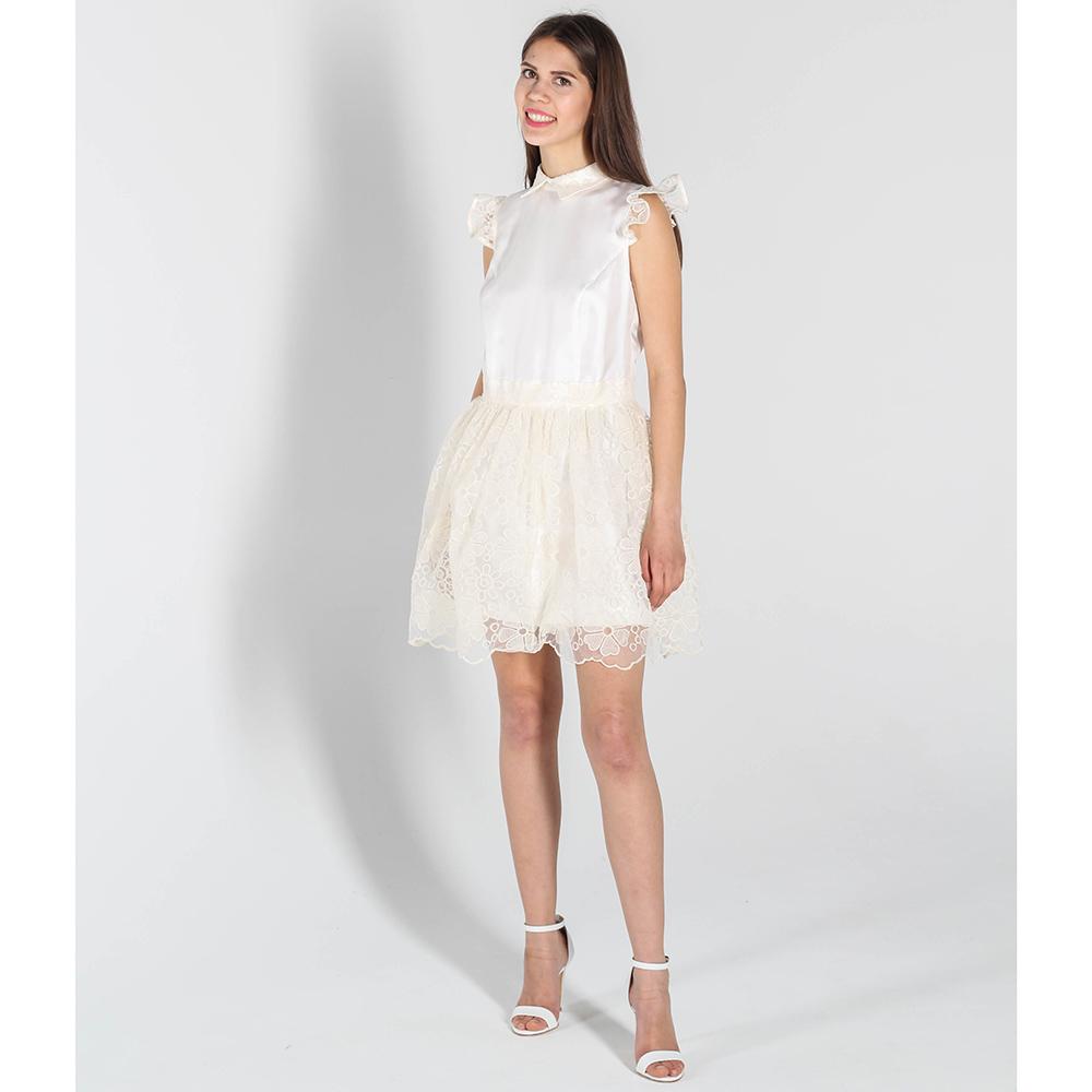 Шелковое платье-беби долл Kristina Mamedova с кружевной юбкой