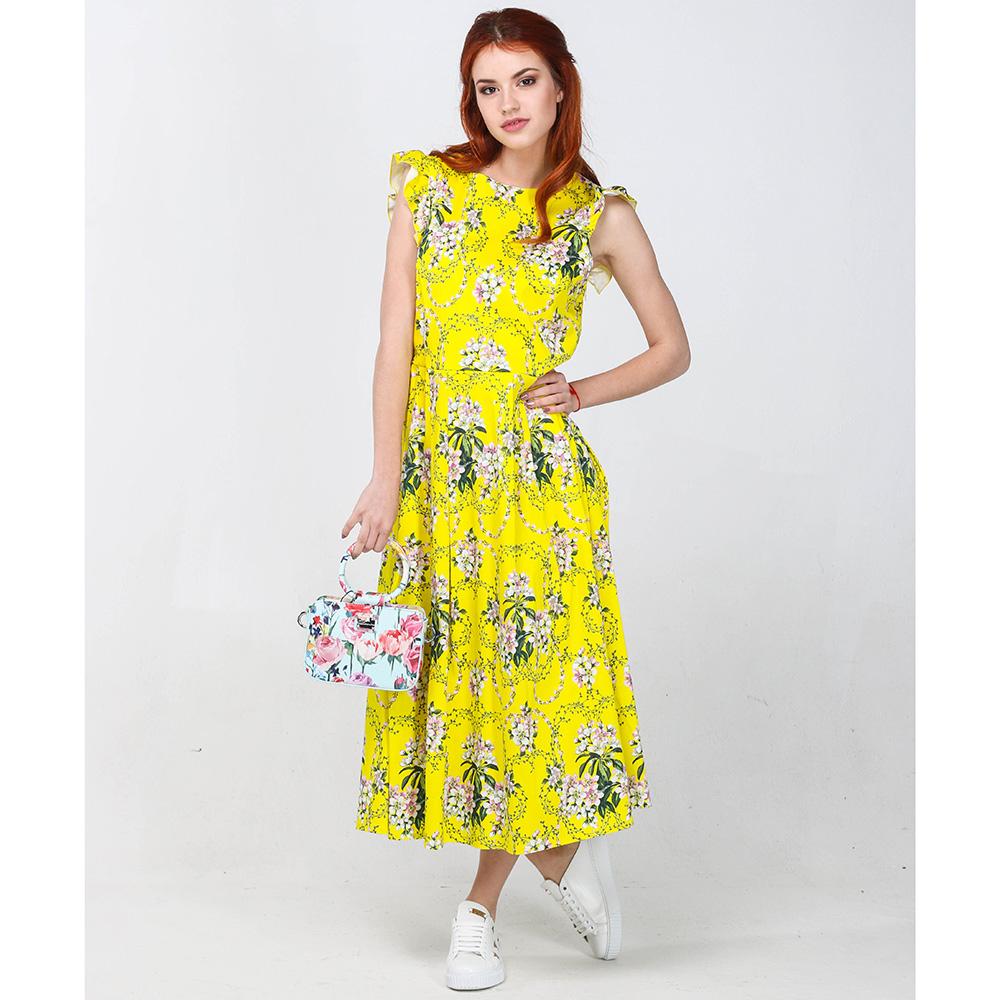 Платье-миди Blugirl Blumarine желтого цвета без рукавов