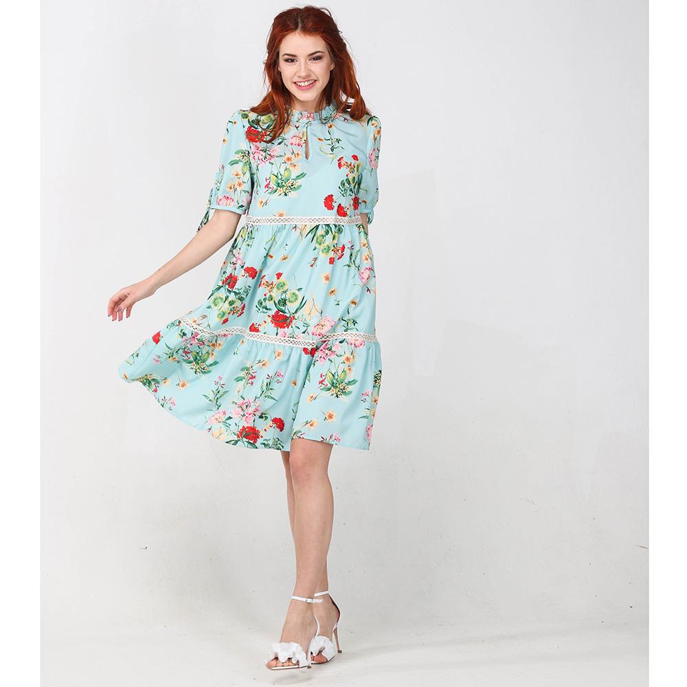 Повседневное платье Blugirl Blumarine голубое с цветочным принтом