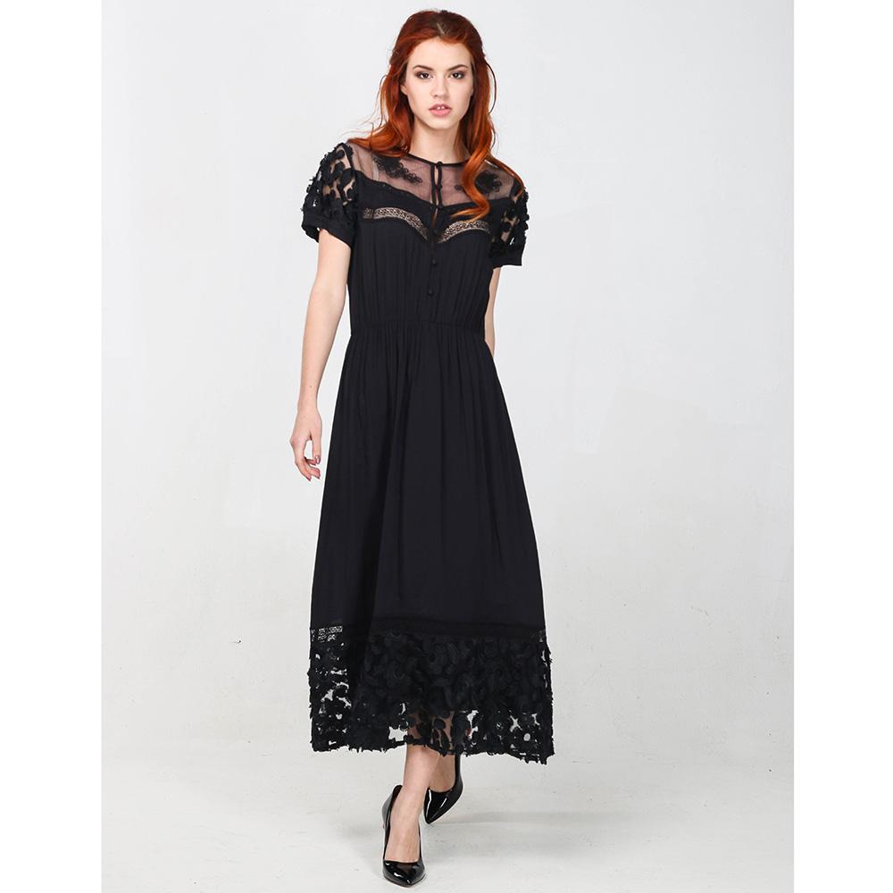 Платье-миди Blugirl Blumarine черного цвета с кружевом