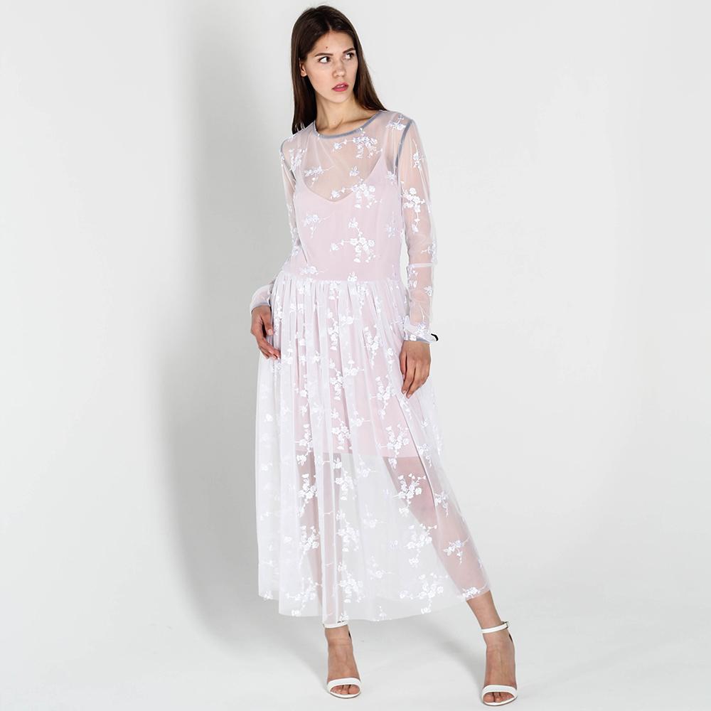 Кружевное платье Kristina Mamedova белого цвета