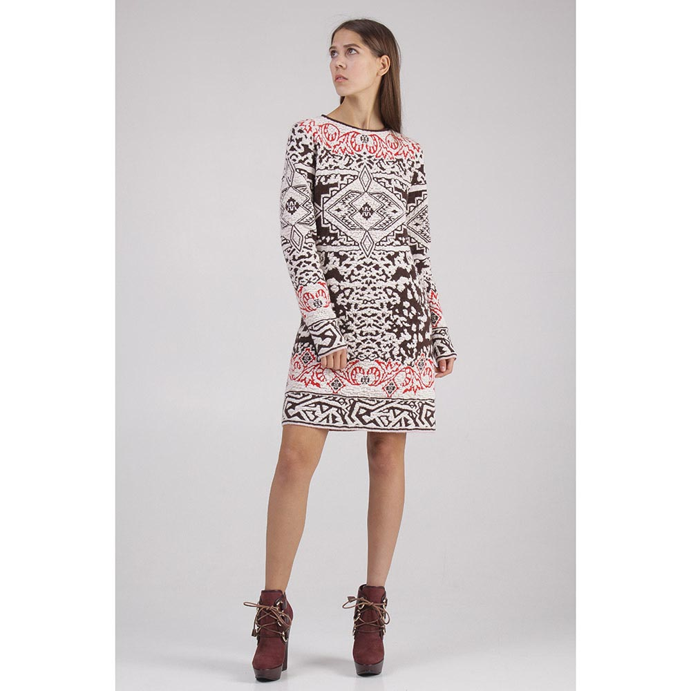 Платье коричневое с бело-красным узором Emilio Pucci