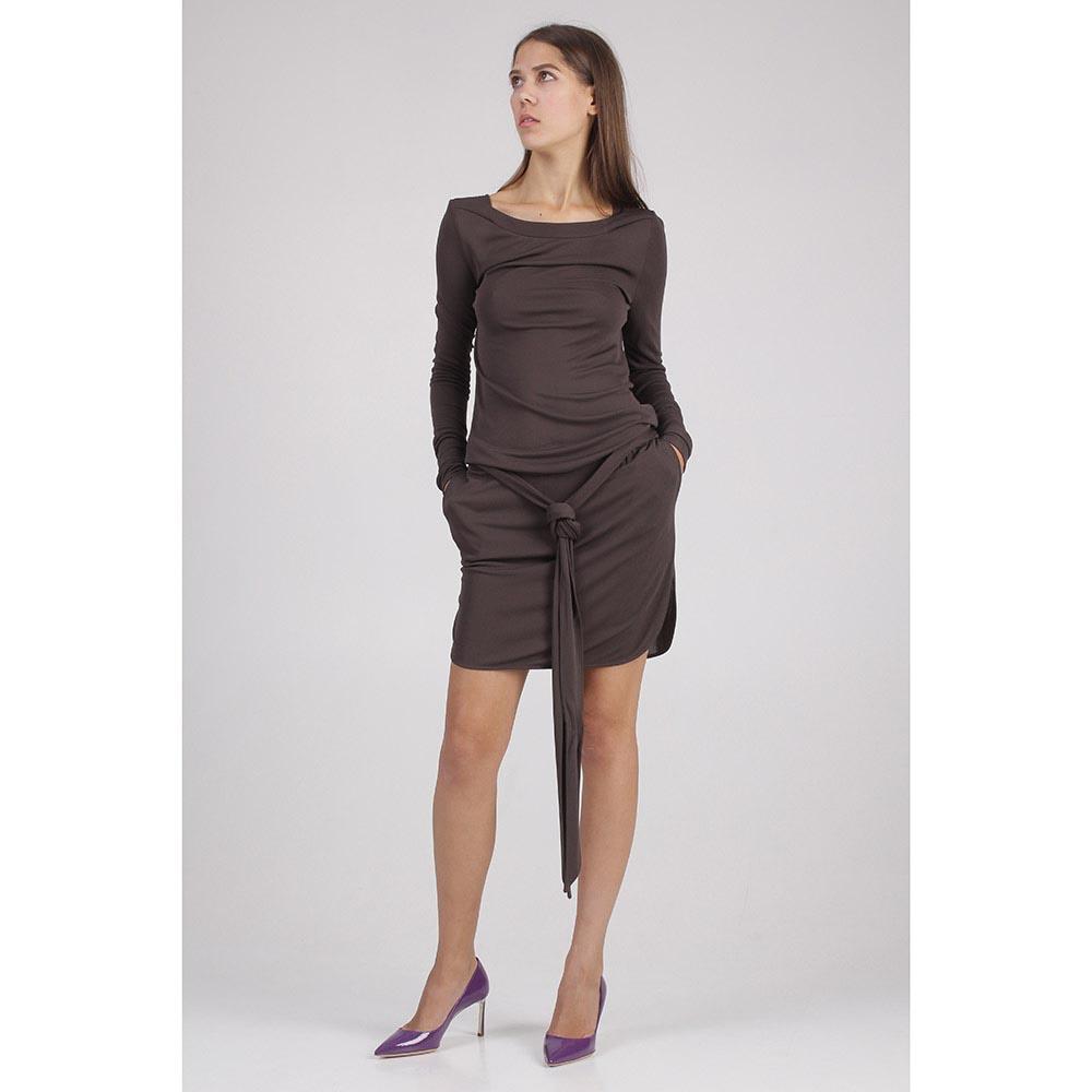 Платье коричневое с заниженной талией Emilio Pucci